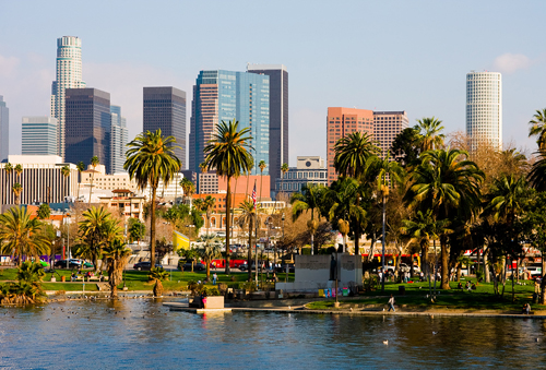 Los Angeles: Skyline, Lake, and Park
