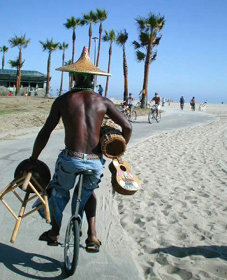 Venice Beach, California: Unicycle and Drum